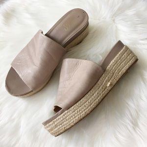 Franco Sarto Nude Leather Espadrille Mule Sandals